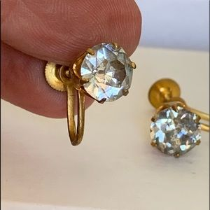 Vintage Cubic Zirconia  screw back earrings